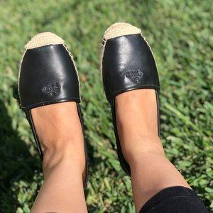 COACH♥️Black Leather Espadrilles Women's Sz 8.5